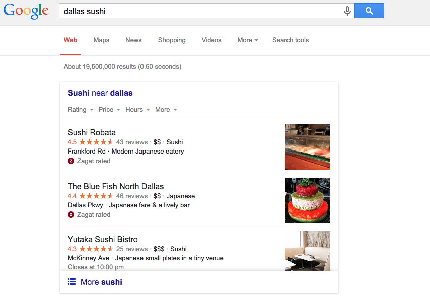 "Google Search Engine Results for ""dallas sushi"""