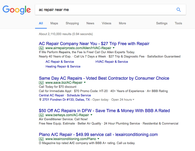 Pay Per Click Search Results